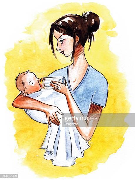 a mother bottle feeding her infant - updo点のイラスト素材/クリップアート素材/マンガ素材/アイコン素材