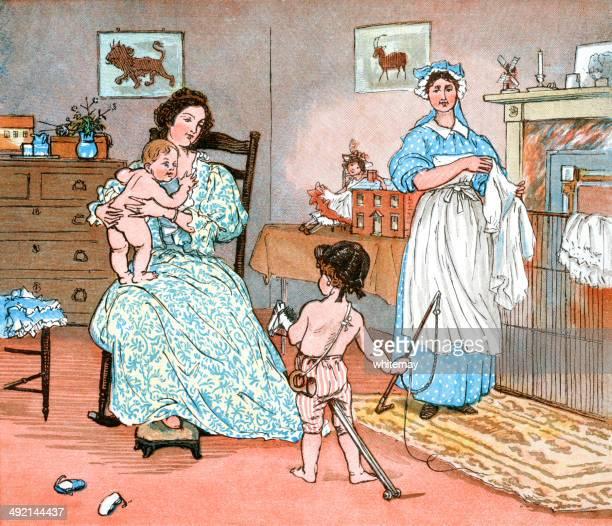 Mãe e filhos e nursemaid no infantário
