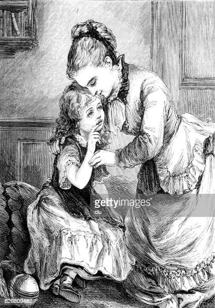 mother embracing her daughter talking to her - kids hugging mom cartoon stock illustrations