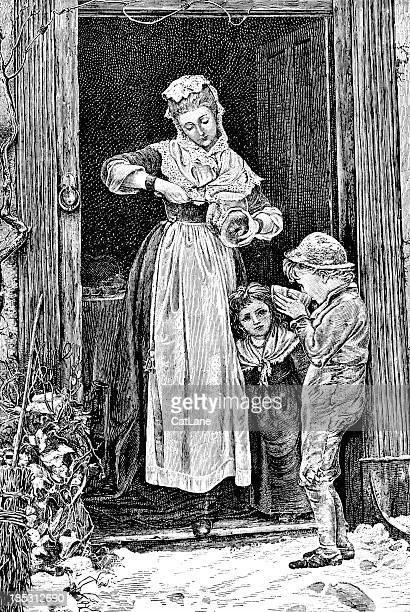 Mother Feeding Children - Victorian Illustration