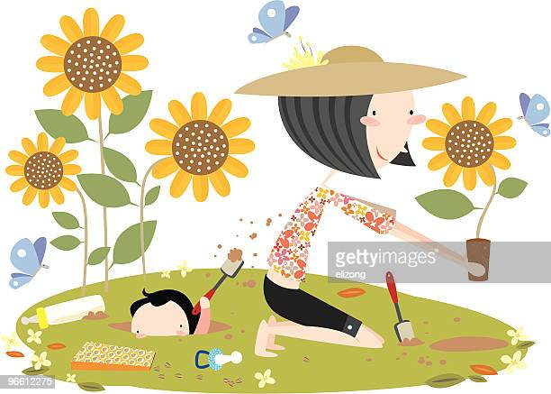 ilustraciones, imágenes clip art, dibujos animados e iconos de stock de madre e hijo de jardinería con cavando orificio - girasol