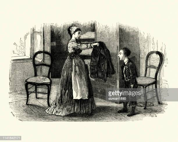 Mother giving her son a new jacket, Victorian, 19th Century