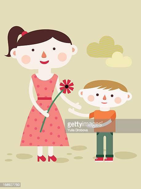ilustraciones, imágenes clip art, dibujos animados e iconos de stock de a mother holding a flower while standing next to her son - gracias por su atencion