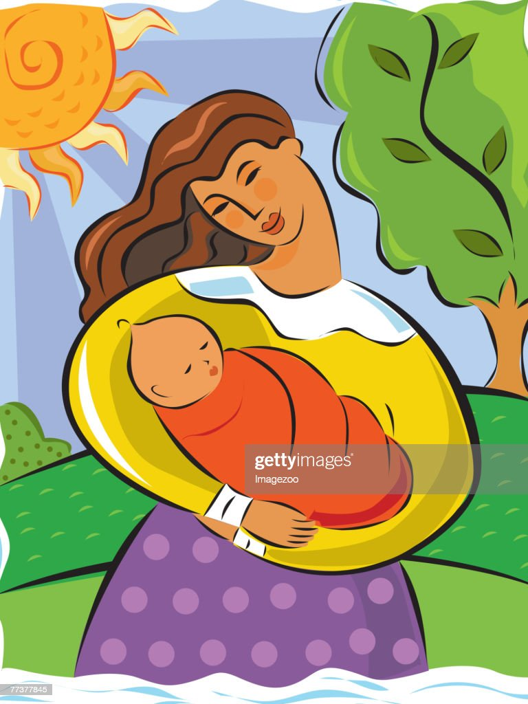 Mother holding her baby : Illustration