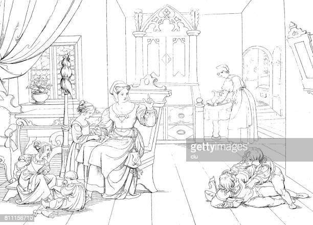 mother is sitting at table surrounded by her 5 playing children - family fighting cartoon stock illustrations