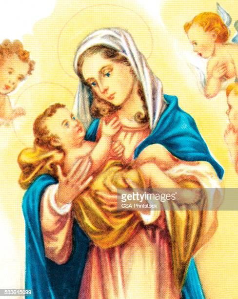 illustrations, cliparts, dessins animés et icônes de mère marie et de jésus et les anges - la vierge marie