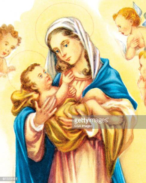 mother mary with jesus and angels - virgin mary stock illustrations, clip art, cartoons, & icons