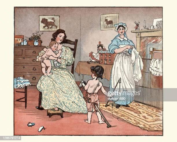 illustrations, cliparts, dessins animés et icônes de mère, bébé d'habillage de nounou dans la pépinière, garçon jouant avec le cheval de hobby, victorien - jeunes femmes