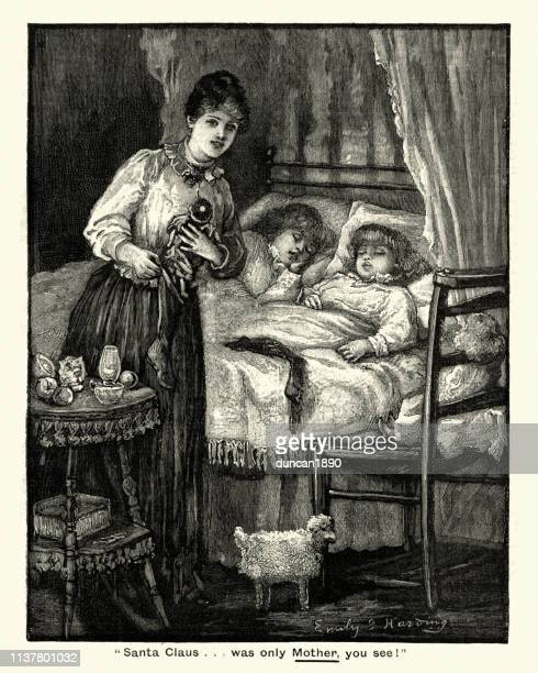mother putting christmas gfts out for her children, victorian - christmas past and christmas present stock illustrations