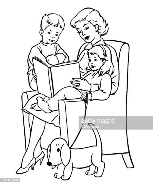 mother reading to children - one animal stock illustrations