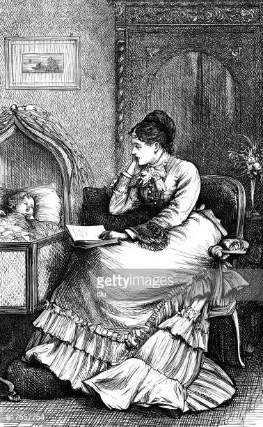 mother reads to the baby at the cradle - 1877 stock illustrations, clip art, cartoons, & icons