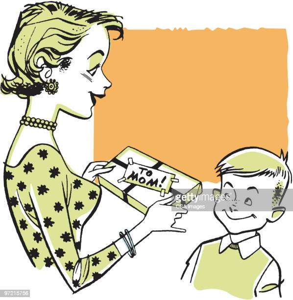 mother receiving gift from boy - giving stock illustrations