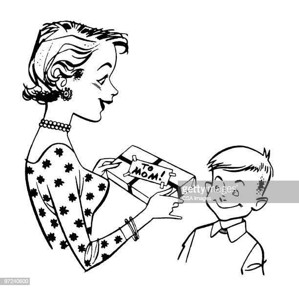 mother receiving gift from boy - mothers day stock illustrations