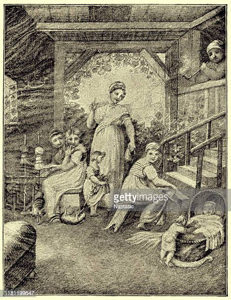 """mother surrounded by her playing children ,illustration to schiller's """"bell"""" - family fighting cartoon stock illustrations"""