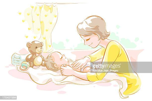 illustrations, cliparts, dessins animés et icônes de mother taking care of baby - famille avec un enfant