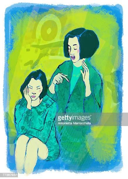 A mother talking to a bored daughter