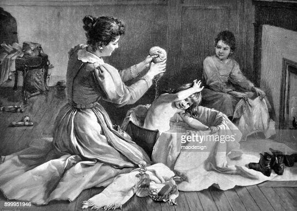 mother washes her daughter in the bath - 1896 - 19th century stock illustrations