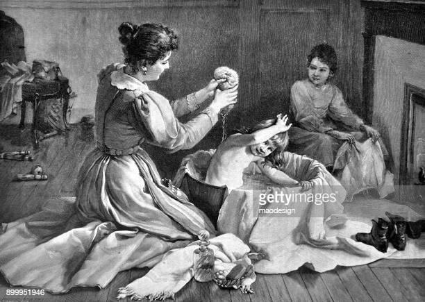 ilustrações, clipart, desenhos animados e ícones de mãe lava a filha no banho - 1896 - século xix