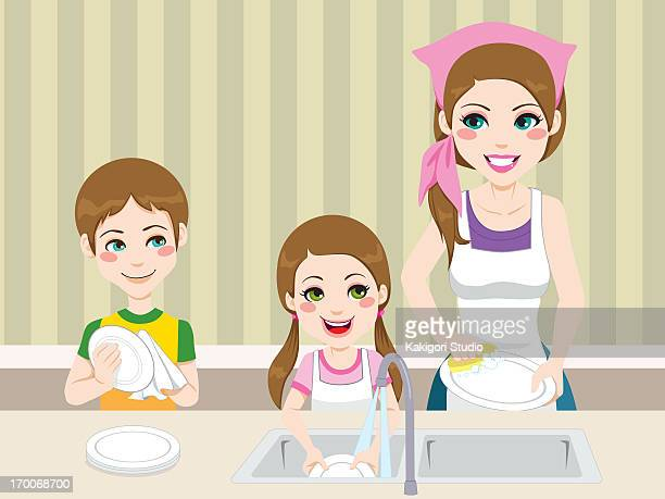 a mother washing dishes with her children - washing dishes stock illustrations, clip art, cartoons, & icons