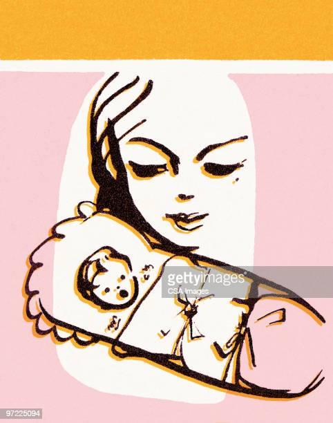 mother watching baby sleep - baby stock illustrations