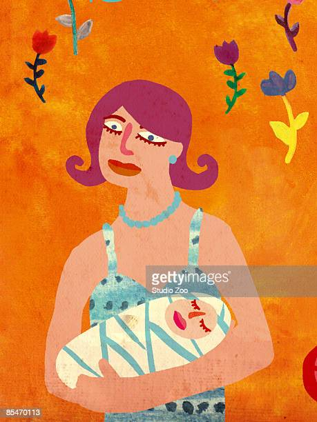 a mother with her newborn baby - baby blanket stock illustrations, clip art, cartoons, & icons