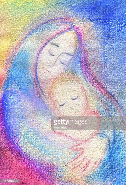 mother with son - mary and jesus - blessed mother mary stock illustrations