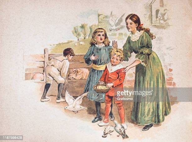 mother with three children outdoors with animals on farm 1900 - 1900 1909 stock illustrations