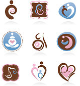 Motherhood, pregnancy, newborn icons and elements