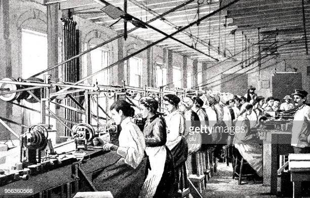 mother-of-pearl industry: mississippi - knob grinding in a factory by female workers - industrial revolution stock illustrations