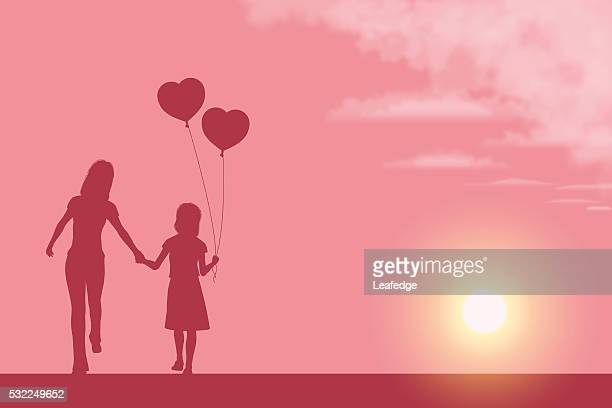 Mother's Day background[Mother and her daughter silhouette]