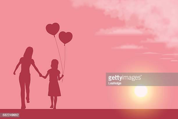 ilustraciones, imágenes clip art, dibujos animados e iconos de stock de fondo del día de la madre [ madre y su hija silueta ] - madre e hija