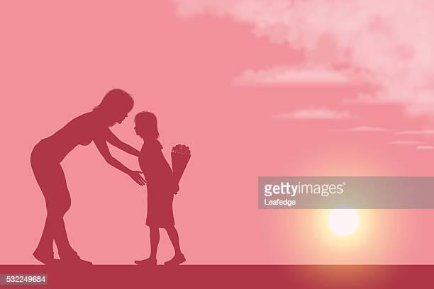 illustrations, cliparts, dessins animés et icônes de fête des mères-plan [ mère et sa fille silhouette ] - petites filles