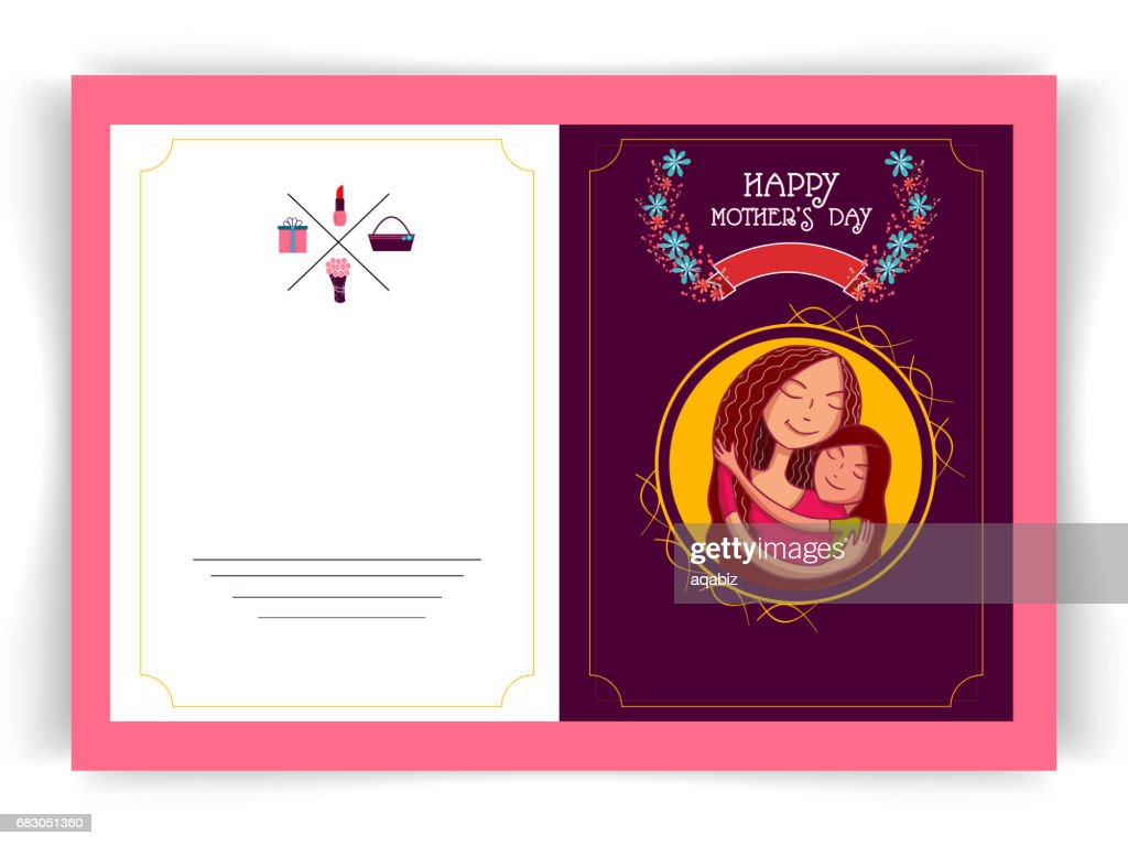 Mothers Day Celebration Greeting Card Design With Illustration Of