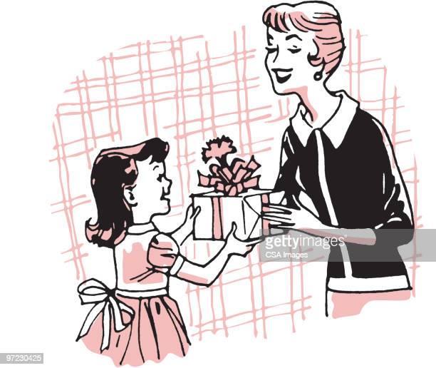 ilustraciones, imágenes clip art, dibujos animados e iconos de stock de mother's day - madre e hija
