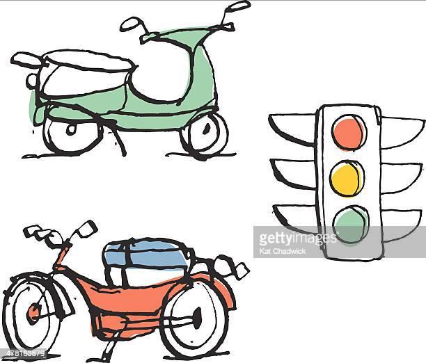 stockillustraties, clipart, cartoons en iconen met motorbike, moped and street light - moped