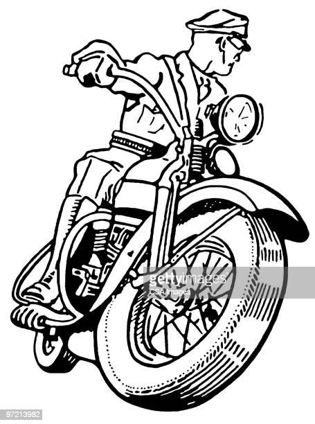 motorcycle cop - traffic stock illustrations