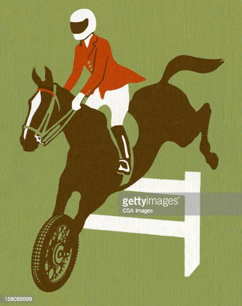 Motorcycle Horse and Rider Jumping Over Fence