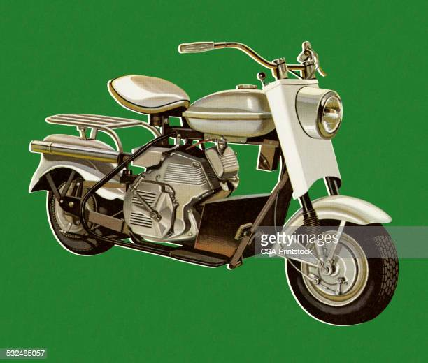 Motorcycle on Green Background