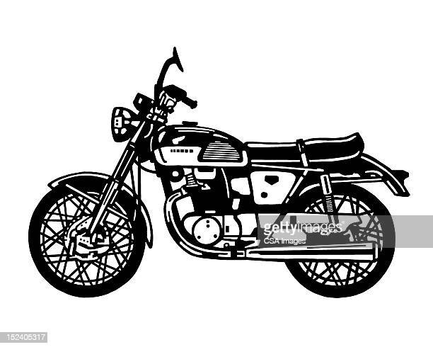 motorcycle side view - vintage motorcycle stock illustrations