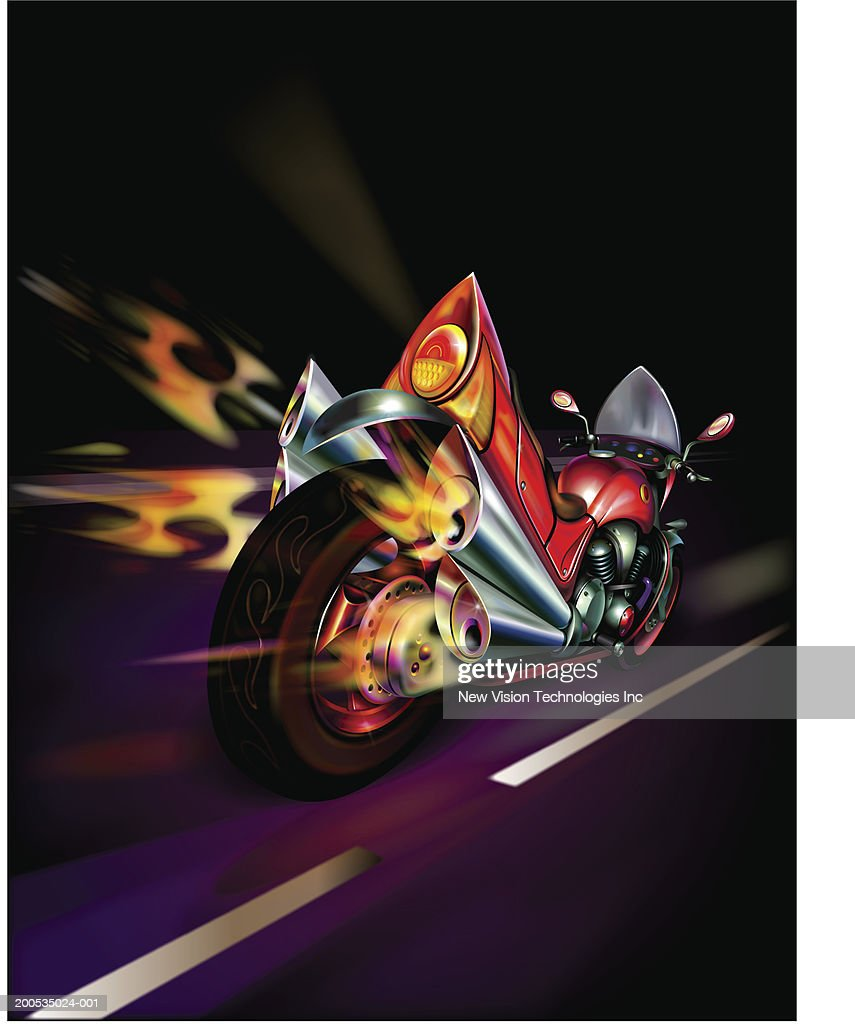 Motorcycle with flames coming out of exhaust pipes rear view  Stock Illustration  sc 1 st  Getty Images & Motorcycle With Flames Coming Out Of Exhaust Pipes Rear View Stock ...