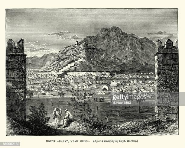 mount arafat, near mecca, 19th century - mecca stock illustrations