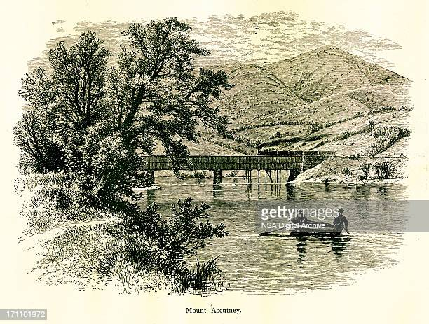 mount ascutney, vermont - connecticut river stock illustrations, clip art, cartoons, & icons
