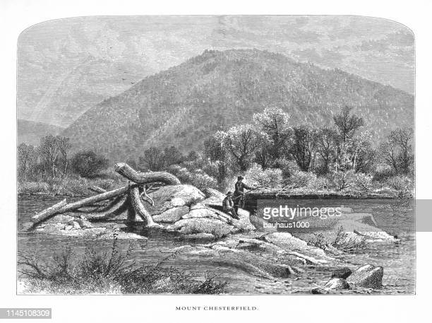 mount chesterfield, connecticut river, valley of the connecticut, massachusetts, united states, american victorian engraving, 1872 - connecticut river stock illustrations, clip art, cartoons, & icons