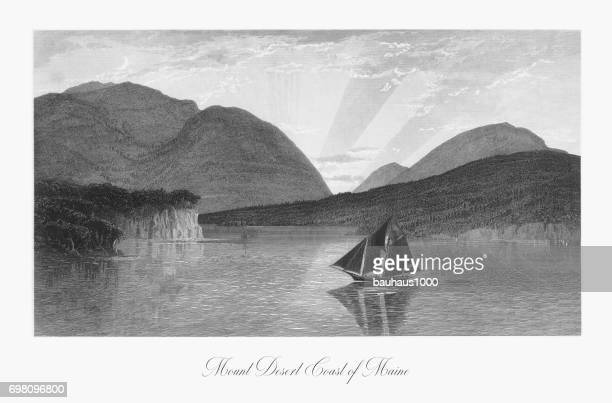 mount desert island, maine, united states, american victorian engraving, 1872 - hancock county stock illustrations, clip art, cartoons, & icons