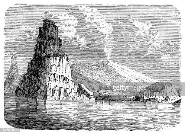 mount etna - erupting stock illustrations, clip art, cartoons, & icons