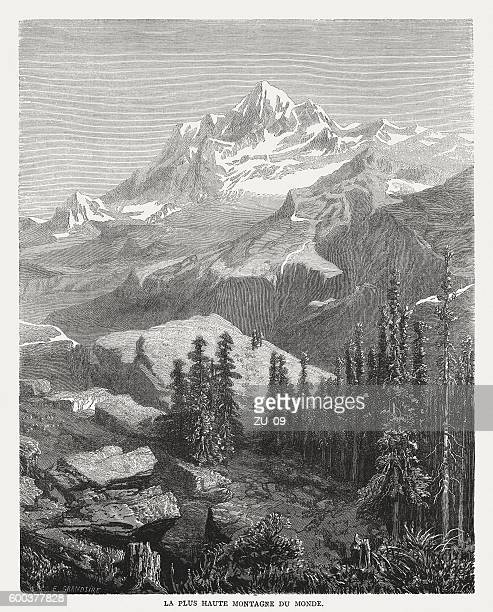 Mount Everest, wood engraving, published in 1877