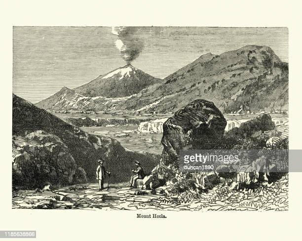 mount hekla (hecla), stratovolcano in the south of iceland - stratovolcano stock illustrations, clip art, cartoons, & icons