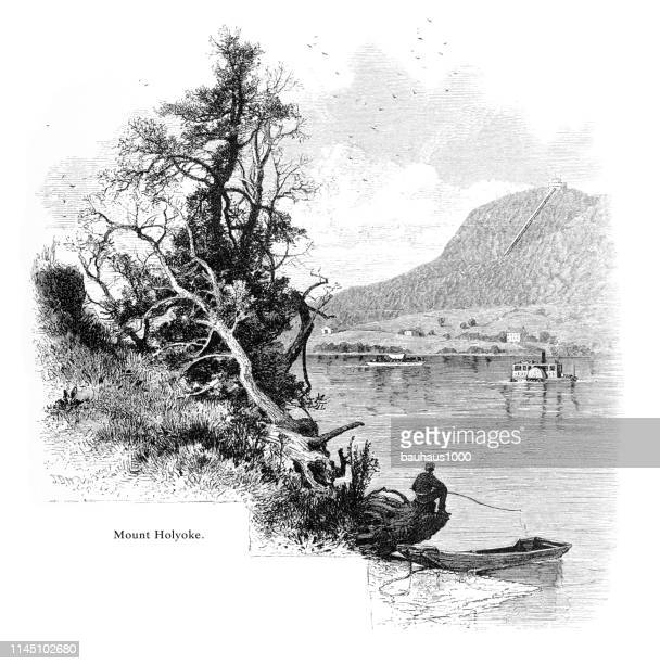 mount holyoke, connecticut river, valley of the connecticut, massachusetts, united states, american victorian engraving, 1872 - connecticut river stock illustrations, clip art, cartoons, & icons