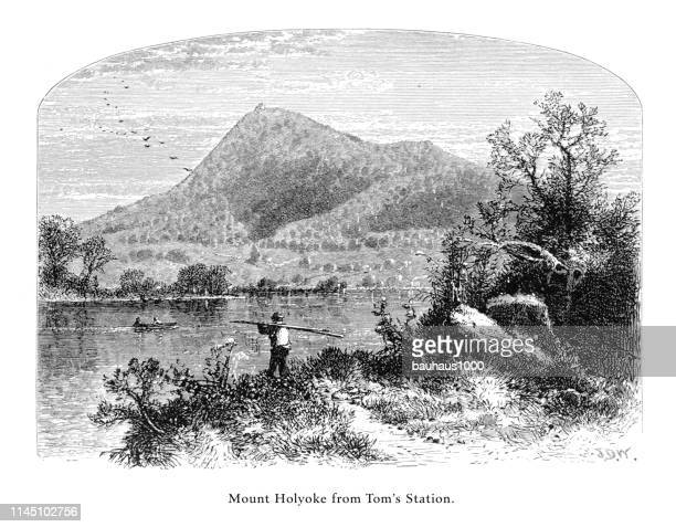 mount holyoke from tom's station, connecticut river, valley of the connecticut, massachusetts, united states, american victorian engraving, 1872 - connecticut river stock illustrations, clip art, cartoons, & icons
