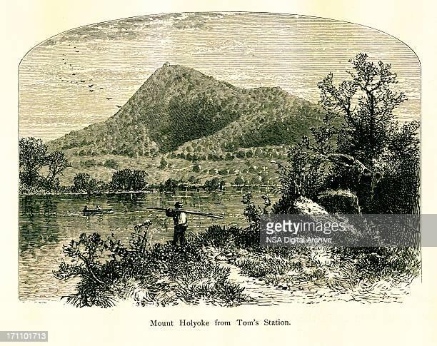 mount holyoke, massachusetts | historic american illustrations - connecticut river stock illustrations, clip art, cartoons, & icons